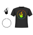 trendy black cotton t-shirt with image of vector image