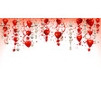 valentine background with hanging hearts vector image vector image