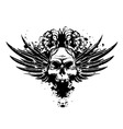 skull with wings and roses vector image