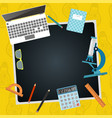 back to school chalkboard with school supplies vector image