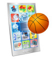 basketball ball mobile phone vector image vector image