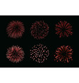 beautiful red fireworks set bright fireworks vector image vector image