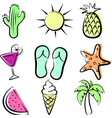 bright summer outline isolated icons set vector image