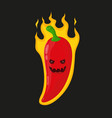 burn hot angry evil chili pepper in fire vector image vector image