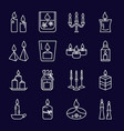burning candles icons set in thin line style vector image