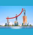 businessmen group raising financial arrow up vector image
