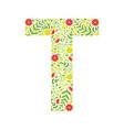 capital letter t green floral alphabet element vector image vector image
