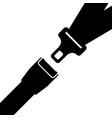 car safety belt seatbelt safe buckle icon vector image
