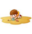 cartoon little boy with seashells in a sand vector image