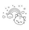 cat with cloud and rainbow black and white vector image vector image