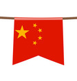 china national flags hangs on ropes on white vector image
