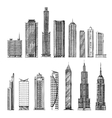 city hand drawn sketch skyscrapers vector image vector image