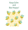 cute postcard with bees composition with words vector image vector image
