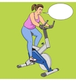 Fat woman on exercise bike pop art style vector image vector image