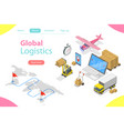 flat isometric concept of global logistics vector image