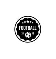 football badge in a circle and shield with ball vector image vector image