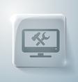 Glass square icon monitor symbol settings
