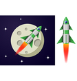 Green and white cartoon steel rocket vector image