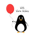 greeting card with adorable penguin vector image
