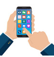hand touching smart phone with icons on the vector image