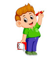 happy boy holding pencil and clipboard vector image