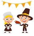 happy thanksgiving day greeting card with people vector image vector image