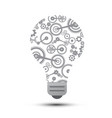 idea concept with cogs inside bulb vector image vector image