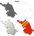 Jiangsu blank outline map set vector image vector image