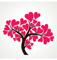 lover tree with pink heart shape leaf vector image vector image