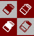 memory card sign bordo and white icons vector image vector image