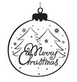 merry christmas hand lettering christmas ball vector image vector image