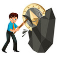mining of ethereum crypto currency poster vector image vector image