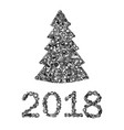 new year card from hand tools tree nad 2018 vector image