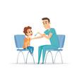nurse and boy rehabilitation pediatrician ill vector image
