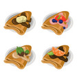pancakes set chocolate syrop and banana and fruits vector image