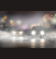 realistic car lights in fog composition vector image vector image