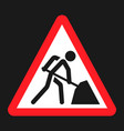 road works sign flat icon vector image vector image