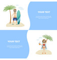 set concept summer banner people on beach flat vector image vector image