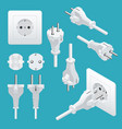 set od plugs and sockets type f used in germany vector image vector image