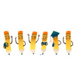 set of happy cartoon pencils vector image vector image