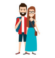 students couple avatars characters vector image vector image