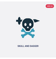 two color skull and dagger icon from shapes vector image vector image