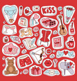 valentine day icons symbols vector image vector image