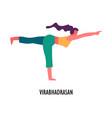 virabhadrasan pose yoga asana sport and fitness vector image vector image
