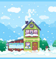 winter background with house christmas landscape vector image vector image