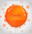 orange candy on bright background lollipop vector image