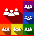 team work sign set of icons with flat vector image