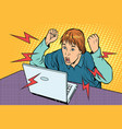 angry teenager sitting at computer laptop vector image