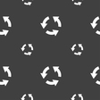 Refresh icon sign Seamless pattern on a gray vector image