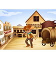 A man holding a gun with a wooden carriage at the vector image vector image
